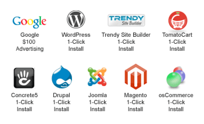 One-click instalation for WordPress, Drupal, Joomla, Magento, osCommerce, Trendy Site Builder, TomatoCart, and more.